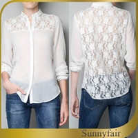 Regular Acetate Solid Free Shipping 2014 New Summer Women Celebrity Fashion Blouses Sexy Lace Hollow Out Shirt Ladies Chiffon Full Sleeve Tops