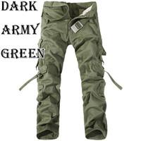 al por mayor belts wholesale belts-Venta al por mayor 2016 pantalones militares de los pantalones del algodón de los pantalones del ejército de los pantalones ocasionales de los pantalones del trabajo del combate del Multi-Bolsillo de la manera Pantalones (ningunos cinturones) R48 salebags