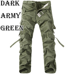 Wholesale Men Pants Cotton Casual Military Army Cargo Pants Fashion Multi Pocket Combat Work Pants Trousers No Belt R48 salebags