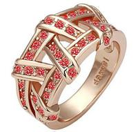 Oro RG R008 Campeonato Rose de los anillos del cristal plateado del níquel del anillo del anillo de boda libre del envío gratuito
