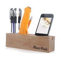 Wholesale Wood Beech Multifunctional Desktop Organizer Storage Holder for iPhone Stationery Pin H9750