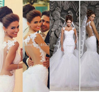 2014 lace Illusion back wedding dresses 2014 spaghetti Court...