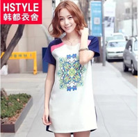 Wholesale HSTYLE Summer Women Clothes Fashion Patchwork A Line Vintage Design Print Vogue Dress Made In China