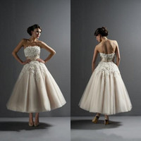 Wholesale 2014 A line Wedding Dresses Strapless Beading Applique Lace Tulle Tiers Tea Length with Ribbon Elegant Bridal Gowns BO4130