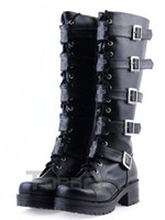 Wholesale Black PU Lace Up Buckle Knee High Lolita Boots