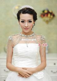 Wholesale Unique Wedding Bridal Jewelry Wraps Shoulder chain Sparkling Crystal Necklace Wedding Accessory