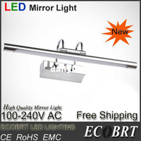 Shadeless Modern Wall Mouted Wholesale-407-ECOBRT-New 5890 Stylish items Stainless Steel LED Wall Lamps in bathroom led mirror light 5W 45cm long 220V Free Shipping