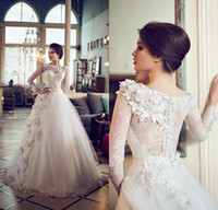 Ball Gown long sleeve ball gowns - 2015 Wedding Dresses Irit Shtein Lace Long Sleeve with handmade flowers Vintage Wedding Dresses Ball Gown Custom Made Plus size DL11877