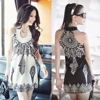 exotic - Women s floral prints ladies slim strap dress Classic Vintage Collar Exotic Summer Mini Dress SV000976
