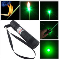 Wholesale Promotions Best nm Professional Powerful Green Laser Pointer Pen Lazer Light with Battery Retail Box Focus Burning Wood Matchs