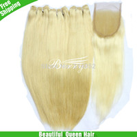 Wholesale Berrys Beautiful Queen Hair straight blonde with pcsTop Closure Virgin natural straight bleached knots quot quot Rosa hair
