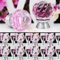 Ceramic  New TK0739# 2014 New 8 Pcs Glass Crystal Cabinet Drawer Furniture Knob Kitchen Pull Handle Door Wardrobe Hardware 30mm Clear Pink #6 TK0739