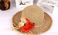 Wide Brim Hat Red Plain Dyed 2014 New Fashion Hand-made Flower Sun Hat Summer Beach Hat Sunscreen Cap Wide Brim Hats Straw Hats MS Hats 2Colors