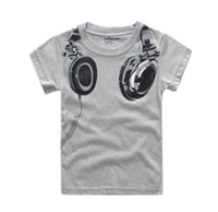 cartoon print t-shirt - 2014 Summer Korea Children Boys Cute Cartoon Short Sleeve T shirts Kids Printed Casual Tops Childs Tshirts Gray J0788