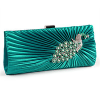 Wholesale Satin CRYSTAL Evening Clutch Cocktail Wedding Bridal Party Bag hot sale black white coffee champange turq