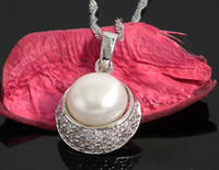 Wholesale Fine Jewelry Natural Freshwater Pearl Pendants Jewelry Guaranteed Genuine Sterling Silver Pendant With Zircons YH44187