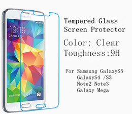 Wholesale Tempered Glass Screen film forSamsung Galaxy S5 S4 S3 Note3 Note2 Mega Anti Crack Series For S5 i9600