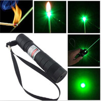 Wholesale Popular Nice nm Professional Powerful Green Laser Pointer Pen Lazer Light with Battery Retail Box Focus Burning Wood Matchs