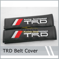 Wholesale 2x TRD Logo Emblem Badge Black Carbon Fiber Embroidery Seat Belt Shoulder Pad Cushions For TRD Camry Corolla