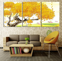 Printed wall art on canvas Scenery Free Shipping 3 panel wall art Modern Picture golden lucky rich tree for home decoration on Canvas Painting printed