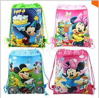 Wholesale Mickey Minnie foreign trade double sided non woven fabric printing beam pumping mouth rope bag bag of gifts for children