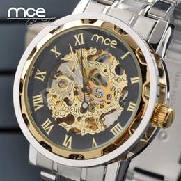 Wholesale Full Steel Watches Elegant Men's Mechanical Wrist Watch Golden Face Hollow Design Luxury Watch 0661