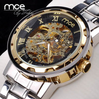 Men's best stainless steel - 1pcs hot Hollow design mechanical watch luxury men women stainless steel automatic watch best gift
