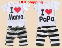 Unisex Summer Short DHL Ship I Love Papa Mama Baby T-shirt Girls Boys Children Clothes Summer Short Sleeve Tshirt Stripe Pant Set Kids Tracksuit Outfit Clothing