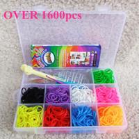 Charm Bracelets Other Unisex Wholesale FREE EXPRESS rubber loom band kit with storage box 9 colors 1600pcs each color bands DIY colorful bracelet