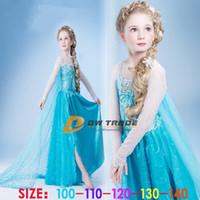 TuTu Summer A-Line 2014 NEW frozen girls costume princess blue elsa dresses a solid sequins flower and lace capes cloak kids party dress J071603#