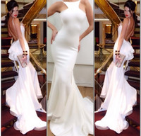 Wholesale Mermaid Real Image Michael Costello Sexy Evening Gown Halter Backless Chapel Train Ruffles Prom Dress White Chiffon Evening Dresses