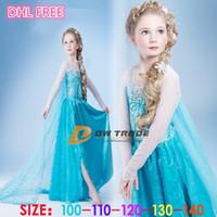 kids costumes - DHL FREE NEW frozen girls costume princess blue elsa dresses a solid sequins flower and lace capes cloak kids party dress J071603