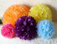Wholesale 10 Inch Colors Pure Handmade Tissue Paper Pom Poms Blooms Flower Balls Packaging For Party Room Decoration Wedding Car Christmas Ornament