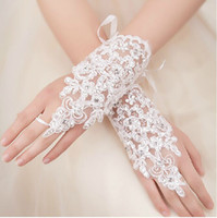 Wholesale 2014 New Arrival Cheap In Stock Lace Appliques Beads Fingerless Wrist Length With Ribbon Bridal Gloves Wedding Accessories