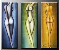 Handpainted Modern No 3 piece wall art free best beautiful naked nude girls sex nude body woman lady picture Chinese Women Oil Painting on Canvas