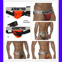 Wholesale all countries new addicted brand sexy underwear men nylon g strings thongs male panties S M L