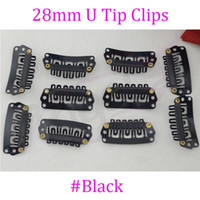 Wholesale 1000pcs mm U Tip Metal hair snap Clips in hair extensions with silicone back for replace weft clip black blonde brown optional