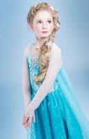 Wholesale DHL EMS Free Fast Shipping Hot Frozen Elsa Anna Children Girl Cape Gauze Lace Princess Dress Cartoon Floral Party Dresses E0263