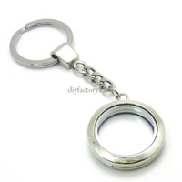 Wholesale 5PCS mm Silver Round magnetic glass glass locket keychains floating charm locket Zinc Alloy