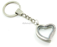 Wholesale 5PCS mm Silver Heart magnetic glass glass locket keychains floating charm locket Zinc Alloy Rhinestone LSFK05