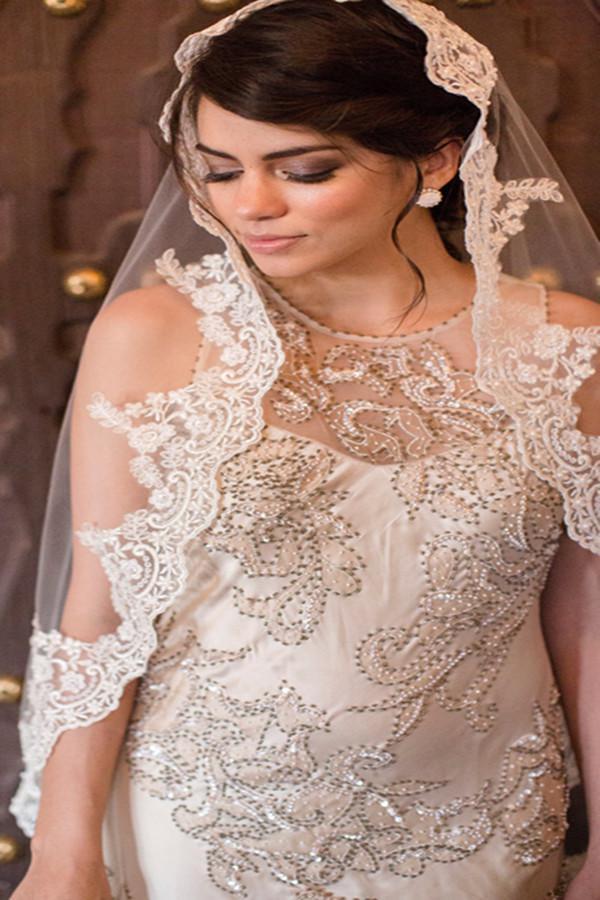 2015 stuning bridal veils custom made charming white ivory for Veil for champagne wedding dress
