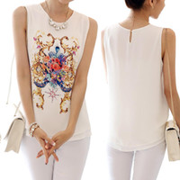 Wholesale S5Q Casual Chiffon Shirt Floral Sleeveless Loose Summer Sheer Tops For Women And Ladies AAADOZ