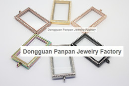 Panpan 316L stainless steel magnetic rectangle shape floating locket with crystals