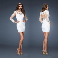 Reference Images Short/Mini Lace 2014 Hot Item New Cocktail Dress Exquisite Tulle Lace Appliques with Lace See-Through Backless Long Sleeves Sheath Short Prom Party Gowns