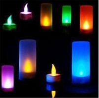 tea cup candles - Voice Romantic Candle Night Light Colorful Flameless Blow Shake Sound Sensor LED Candle Tea Light Semitransparent Cup LED Candle Light