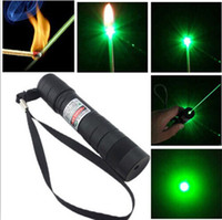 Wholesale Big Discount nm Professional Powerful Green Laser Pointer Pen Lazer Light with Battery Retail Box Focus Burning Wood Matchs