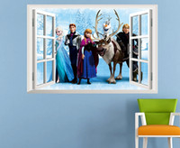 Wholesale 45 cm frozen window wall stickers home decor removeable d wall stickers home decor the Art Of Frozen Movie Wall Stickers open the window