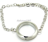 Charm Bracelets Women's Gift 5PCS !! 30mm Silver Round magnetic glass floating locket bracelet Wholesale Fashion Bracelets & Bangles
