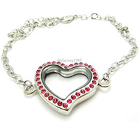 Wholesale 5PCS mm Pink Heart magnetic glass floating locket bracelet Rhinestone Fashion Bracelets amp Bangles