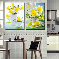 Printed Modern Flower 2 Panels Huge Modern kitchen flower Decorative Canvas Painting Living Room Paint Picture Print Wall Hanging Art